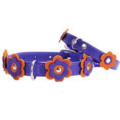 Wau Dog Kožený obojok s kvietkami fialový