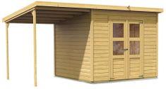 KARIBU dřevěný domek KARIBU MERSEBURG 6 + přístavek 166 cm (73067) natur