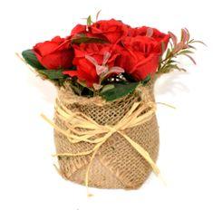 DUE ESSE Červené ruže v kvetináči z juty, 15 cm