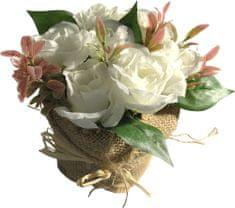 DUE ESSE Bílé růže v květináči z juty, 15 cm