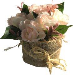 DUE ESSE Růžové růže v květináči z juty, 15 cm