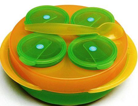 DBB Remond Baby Snack, 4 tálból álló készlet, tányér, kanál narancssárga