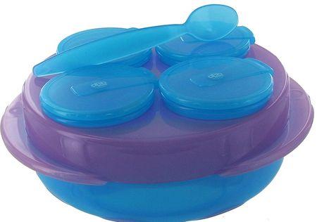 DBB Remond Baby Snack, 4 tálból álló készlet, tányér, kanál kék