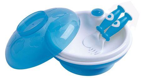 DBB Remond Dětský ohřívací talíř s víkem a lžící s vidličkou modrá