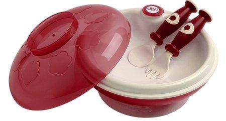 DBB Remond Dětský ohřívací talíř s víkem a lžící s vidličkou červená