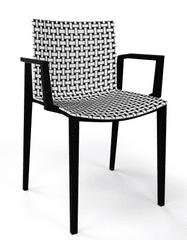 Emagra Jídelní plastová zahradní židle CLIPPER s područkami - černá