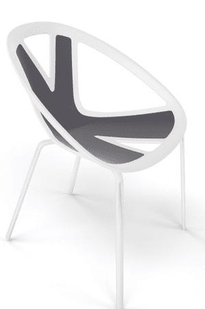 Emagra Jídelní plastová židle EXTREME - bílá - černá