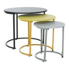 Set troch príručných stolíkov, čierna/žltá/sivá, RONEL NEW