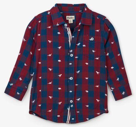 Hatley chlapecká košile s dinosaury 92 červená/modrá