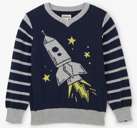 Hatley chlapecký svetr s raketou 92 šedá/modrá