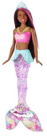 Mattel Barbie Világító hableány mozgó farokkal - barna bőrű