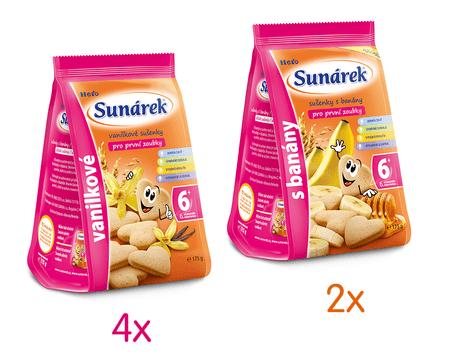 Sunárek Dětské sušenky mléčné mix karton L 6x175g
