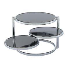 TEMPO KONDELA Otočný konferenčný stolík, čierne sklo/chróm, MOIRA