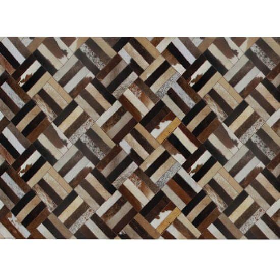 TEMPO KONDELA Luxusný kožený koberec, hnedá/čierna/béžová, patchwork, 140x200 , KOŽA TYP 2