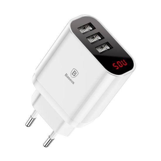 BASEUS Mirror Lake inteligentná sieťová (EU) nabíjačka/adaptér s 3x USB portmi 3.4A, biela CCALL-BH02