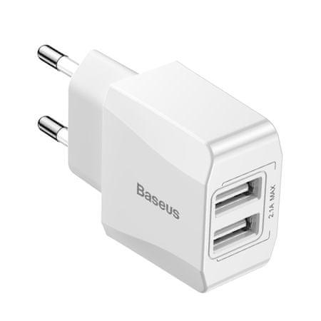 BASEUS Mini dvostruki EU mrežni punjač/adapter za telefon 2.1A, bijeli CCALL-MN02