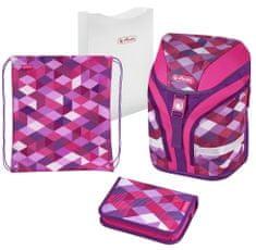 Herlitz dekliški šolski nahrbtnik s kockastim vzorcem, roza/vijolična