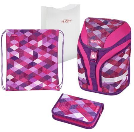 Herlitz Školský batoh motion Ružové kocky - vybavený