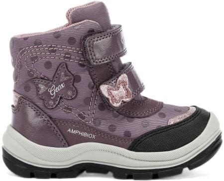 Geox dievčenské svietiace zimné topánky Flanfil 23 fialová