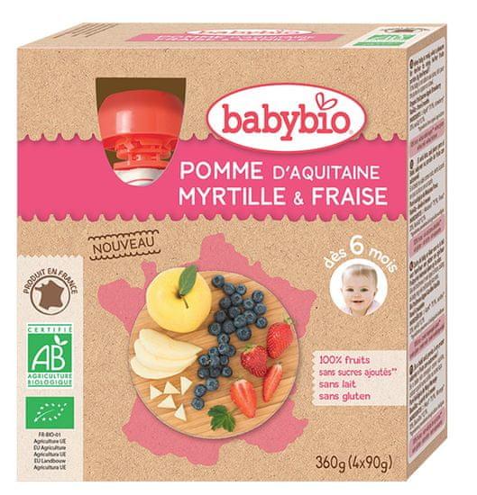 Babybio Jablko, borůvky, jahody 4x90 g