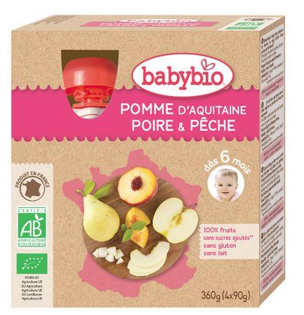 Babybio Jablko, hruška, broskev 4x90 g