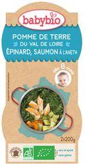 Babybio Brambory a špenát s lososem a rýží 2x200 g