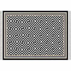 Koberec, čierno-biely vzor, 80x200, MOTIVE