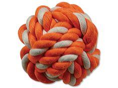 Dog Fantasy Lopta bavlnená oranžovo-biela 12,5 cm