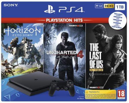 Sony PlayStation 4 Slim, 1 TB igralna konzola + igre Hits (HZD-UC4-TLOU)