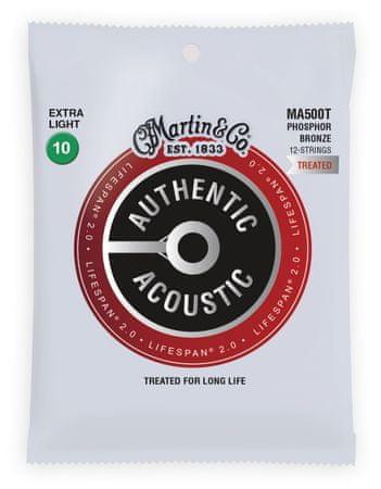Martin Authentic Lifespan 2.0 92/8 Phosphor Bronze 12-String Extra Light Struny pro dvanáctistrunnou kytaru