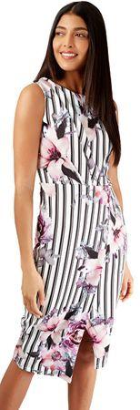 Closet London Dámske šaty Floral and Striped Wrap Pencil Dress Ivory (Veľkosť S)