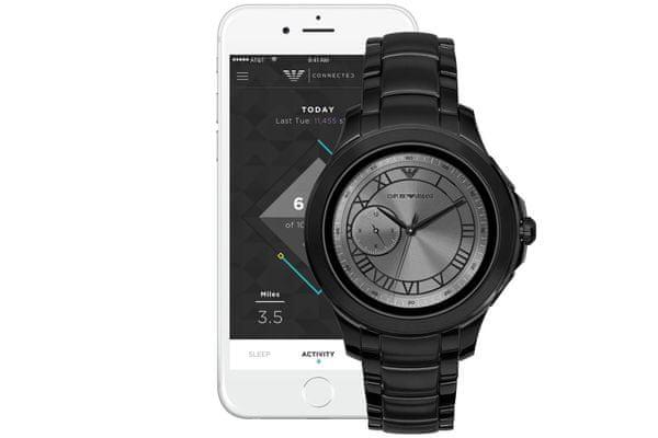 chytré hodinky smartwatch armani art5011 bluetooth android ios krokoměr srdeční tep spálené kalorie zobrazení notifikací nfc technologie google assistant