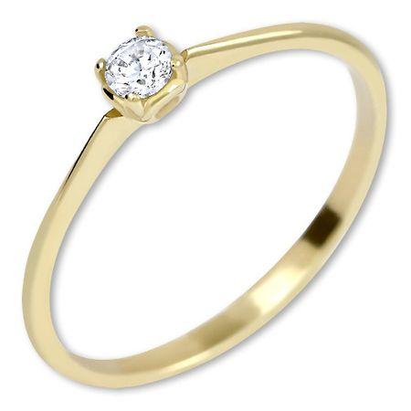Brilio Zaročni prstan iz rumenega zlata s kristalom 226 001 01036 (Obseg 48 mm) rumeno zlato 585/1000