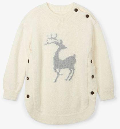 Hatley pulover za djevojčice s motivom srne, 92, bijeli