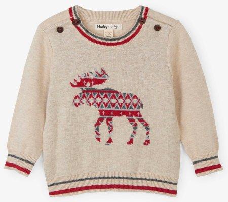 Hatley fiú pulóver rénszarvassal 68-74 bézs