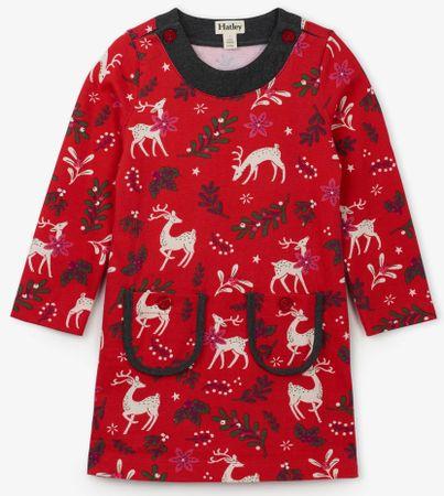 Hatley ženska obleka z motivom jelenčka, 92, rdeča