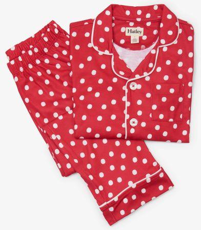 Hatley dekliška pižama s pikami, 92, bela/rdeča