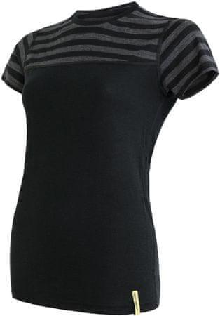Sensor Merino Active ženska sportska majica s kratkim rukavima, crna/tamno siva, L