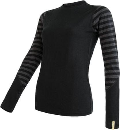 Sensor Merino Active ženski pulover z dolgimi rokavi, črn/temno siv, S