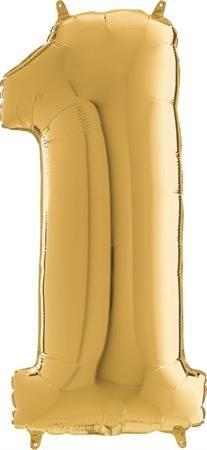 Grabo Nafukovací balónek číslo 1 zlatý 66cm