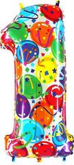 Grabo Nafukovací balónek číslo 1 barevné balónky 102cm extra velký