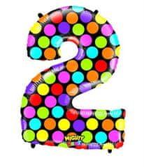 Grabo Nafukovací balónek číslo 2 barevný 102cm extra velký