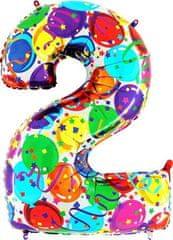 Grabo Nafukovací balónek číslo 2 barevné balónky 102cm extra velký