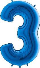 Grabo Nafukovací balónek číslo 3 modrý 102cm extra velký