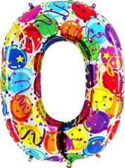 Grabo Nafukovací balónek číslo 0 barevné balónky 102cm extra velký