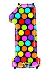 Grabo Nafukovací balónek číslo 1 barevný 102cm extra velký
