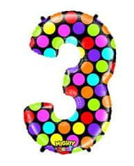 Grabo Nafukovací balónek číslo 3 barevný 102cm extra velký