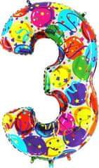 Grabo Nafukovací balónek číslo 3 barevné balónky 102cm extra velký