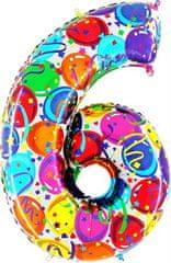 Grabo Nafukovací balónek číslo 6 barevné balónky 102cm extra velký