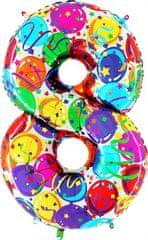 Grabo Nafukovací balónek číslo 8 barevné balónky 102cm extra velký